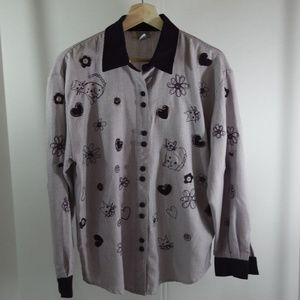Cat Kitty Purple White Embroidered Shirt Sz S